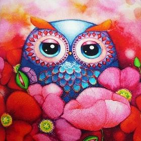 Diamanttavla (R) Poppy Owl 40x40