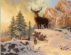 SNART I BUTIK - Diamanttavla Snow Mountain Deer 40x50