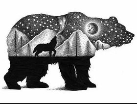 Diamanttavla (R) Bear Black And White 40x50