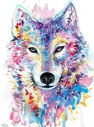 SNART I BUTIK  - Diamanttavla Watercolor Wolf 40x50