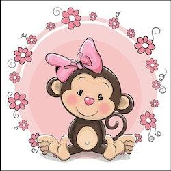 Diamanttavla Cute Monkey 30x30 - Leveranstid 1-3 Dagar