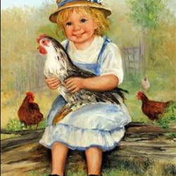 Diamanttavla Girl With Hens 40x50