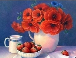 Diamanttavla Poppy And Srrawberry 40x50