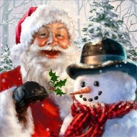 Diamanttavla Santa And Snowman 50x50