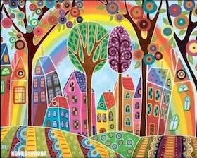 Diamanttavla (R) Rainbow City 40x50