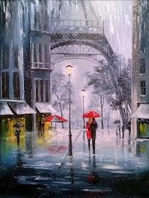 Diamanttavla Raining Paris 40x50