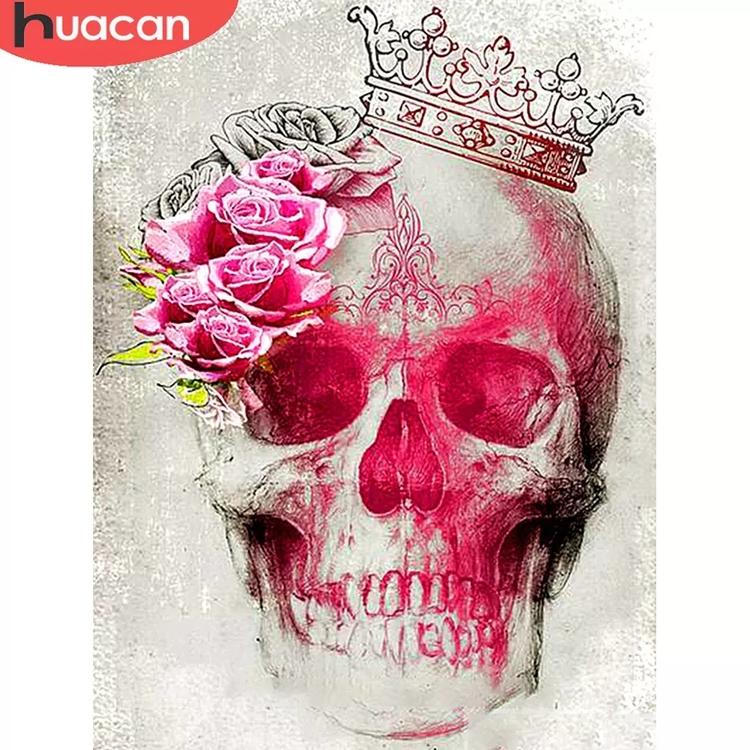 Diamanttavla (R) Pink Rose Skull 40x50