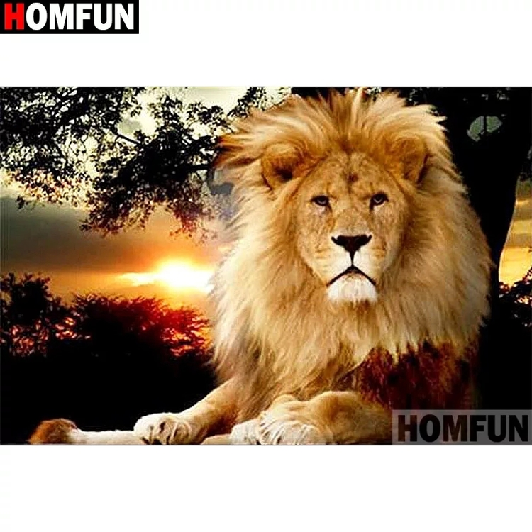 Diamanttavla Lion In Sunset 40x50