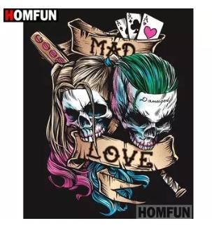 Diamanttavla Mad Love Skulls 40x50