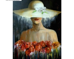 Diamanttavla Lady In Hat And Roses 40x50