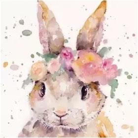 Diamanttavla Flower Bunny 30x40