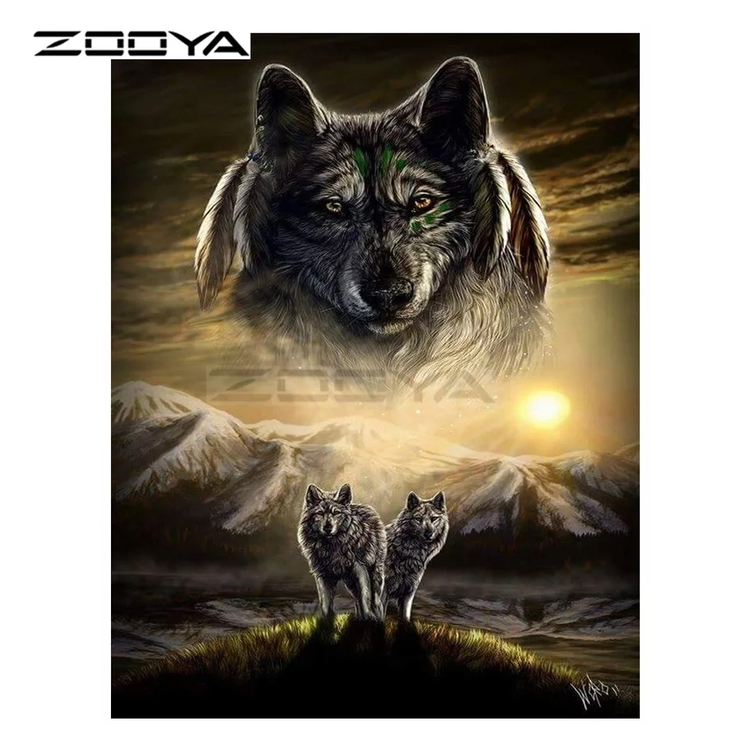 Diamanttavla Wolves Mountain 50x70