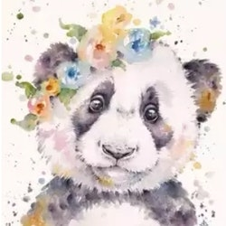 Diamanttavla (R) Flower Panda 30x40