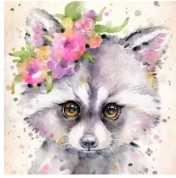 Diamanttavla  Flower Racoon 30x40