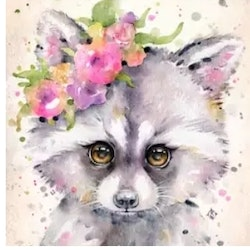 Diamanttavla (R) Flower Racoon 30x40