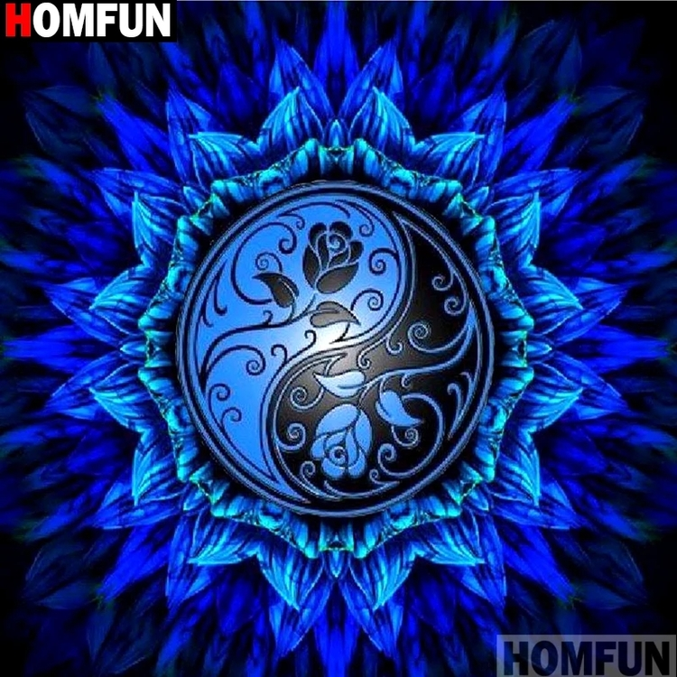 Diamanttavla Blue Yin Yang 40x40