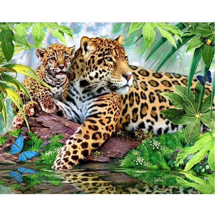 Diamanttavla Leopard Familj 40x50