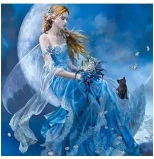 Diamanttavla Blue Fairy With Cat 40x50