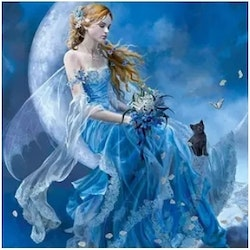 Diamanttavla Blue Fairy With Cat 40x50