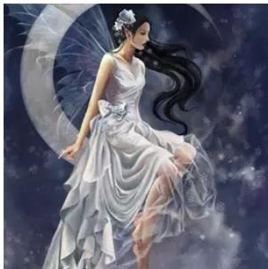 Diamanttavla White Fairy On Moon 40x50