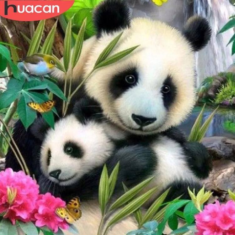 Diamanttavla Panda With Baby 50x50