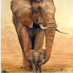 Diamanttavla Elephant With Baby 40x50