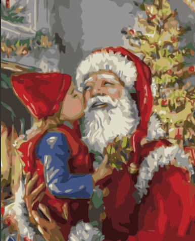 Paint By Numbers Santa With Girl 40x50