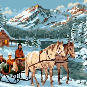Paint By Numbers Hästar Med Släde 40x50