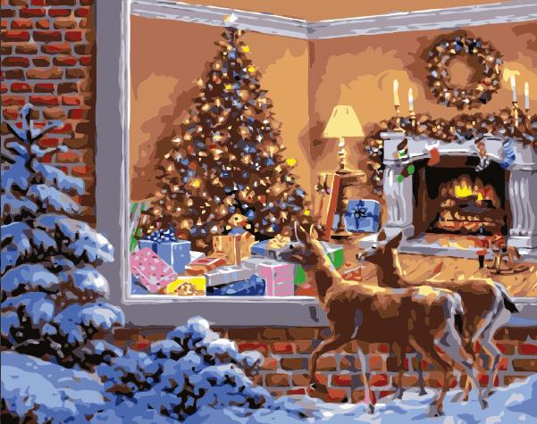 Paint By Numbers Christmas Deers 40x50