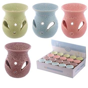 Aromalampa Small Keramik Med Utskurna Mönster Lila