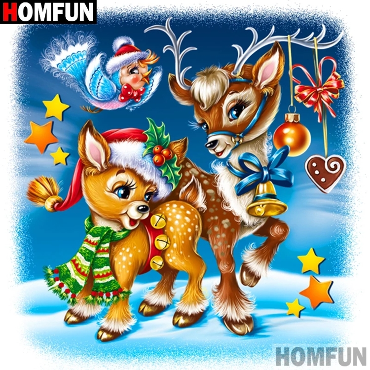 Diamanttavla Cartoon Christmas Deer 50x50