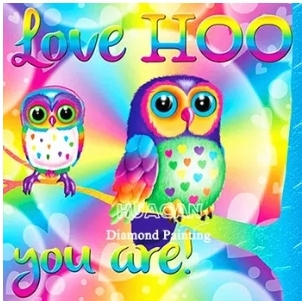 Diamanttavla Love Hoo You Are Owls 40x40