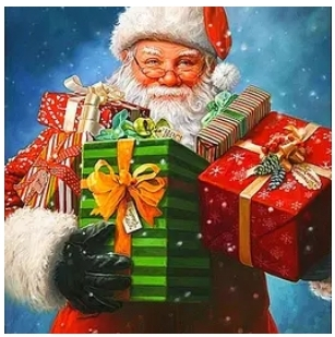 Diamanttavla Santa With Christmasgifts 40x50