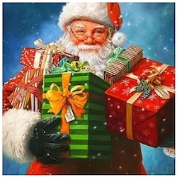 Diamanttavla Santa With Christmasgifts 40x50