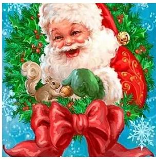 Diamanttavla Santa And Squirrel 40x50