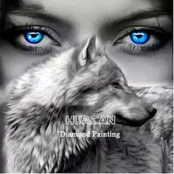 Diamanttavla Blue Eyes Wolf 50x50