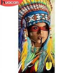 Diamanttavla Målad Indiankvinna 40x80