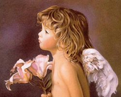 Diamanttavla Ängel Med Liljor 50x70