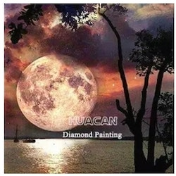 Diamanttavla Fullmoon By Sea 40x50