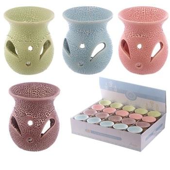 Aromalampa Small Keramik Med Utskurna Mönster Rosa