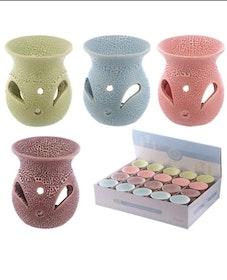 Aromalampa Small Keramik Med Utskurna Mönster Blå