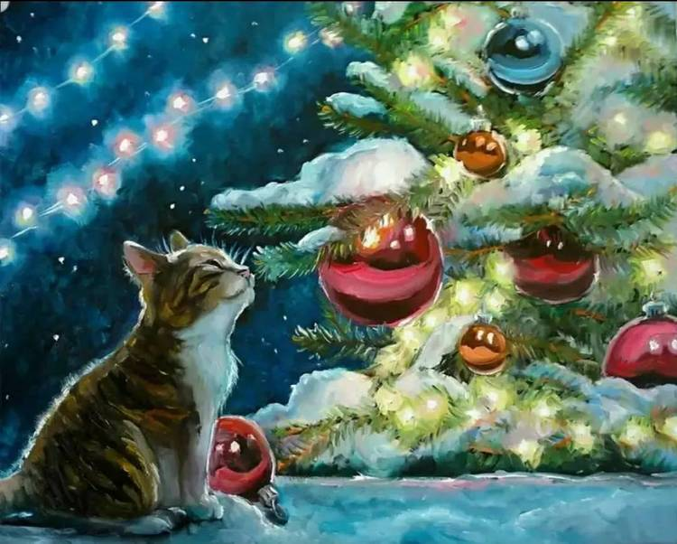 Paint By Numbers Cat Christmastree 40x50
