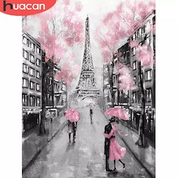 Diamanttavla Pink Paris 40x50