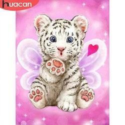 Diamanttavla Pink Baby Tiger 30x40