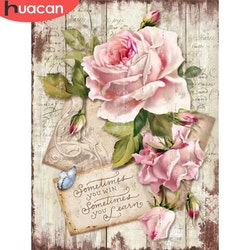 Diamanttavla Roses With Message 40x50