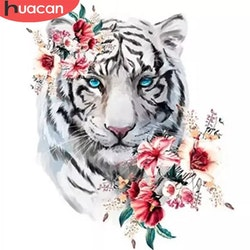 Diamanttavla White Tiger With Flowers 40x40