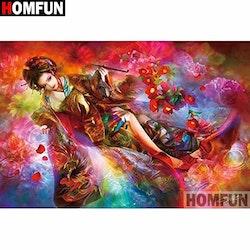 Diamanttavla (R) Geisha With Flowers 50x70