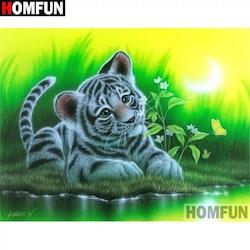 Diamanttavla White Tiger Baby 30x40