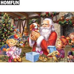 Diamanttavla Tomte Med Barn På Julafton 50x70