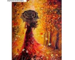 SNART I BUTIK - Diamanttavla Umbrella Woman Autum 40x50